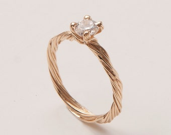 Twig Engagement Ring - 14K Gold and Diamond engagement ring, engagement ring, leaf ring, filigree, antique, art nouveau, vintage, 3