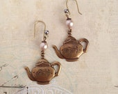 Teapot Earrings - Charms - Brass