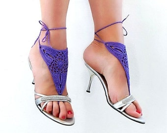 Barefoot sandles, Barefoot sandals, Purple  crochet sandals, foot jewelry, leg decoration, hippie sandals
