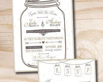 MASON JAR LOVE Wedding Invitation and Response Card - 100 Professionally Printed Invitations & Response Cards