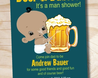 MAN SHOWER African American Beer and babies Diaper Party Invitation Printable - Printable Digital file or Printed Invitations