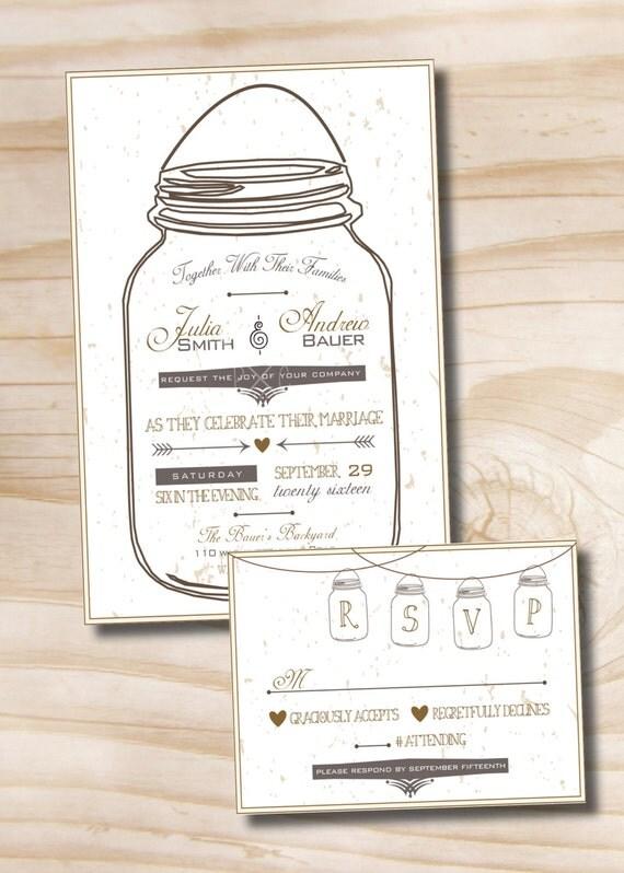 MASON JAR LOVE Wedding Invitation and Response Card Invitation – Wedding Invite Response Card