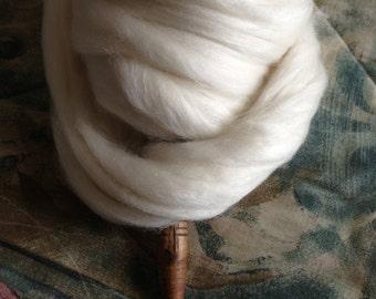 White Polwarth Wool Mulberry Silk 4oz Spinning Fiber Luxury fiber