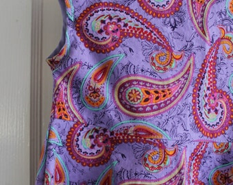 Purple and Teal Paisley Girls A-line Sundress Toddler Size 2