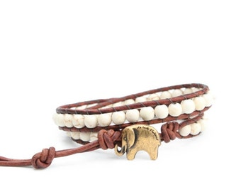 Leather Wrap Bracelet Brown, Cream  and Antique Gold - Natural Stone,  Signature GOOD LUCK ELEPHANT button - the Lucky Elephant Exclusive