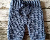 Crochet Baby Shorts/Pants- Diaper Cover in Stonewash and Denim Blue Available in Newborn to 6 Month Size- MADE TO ORDER
