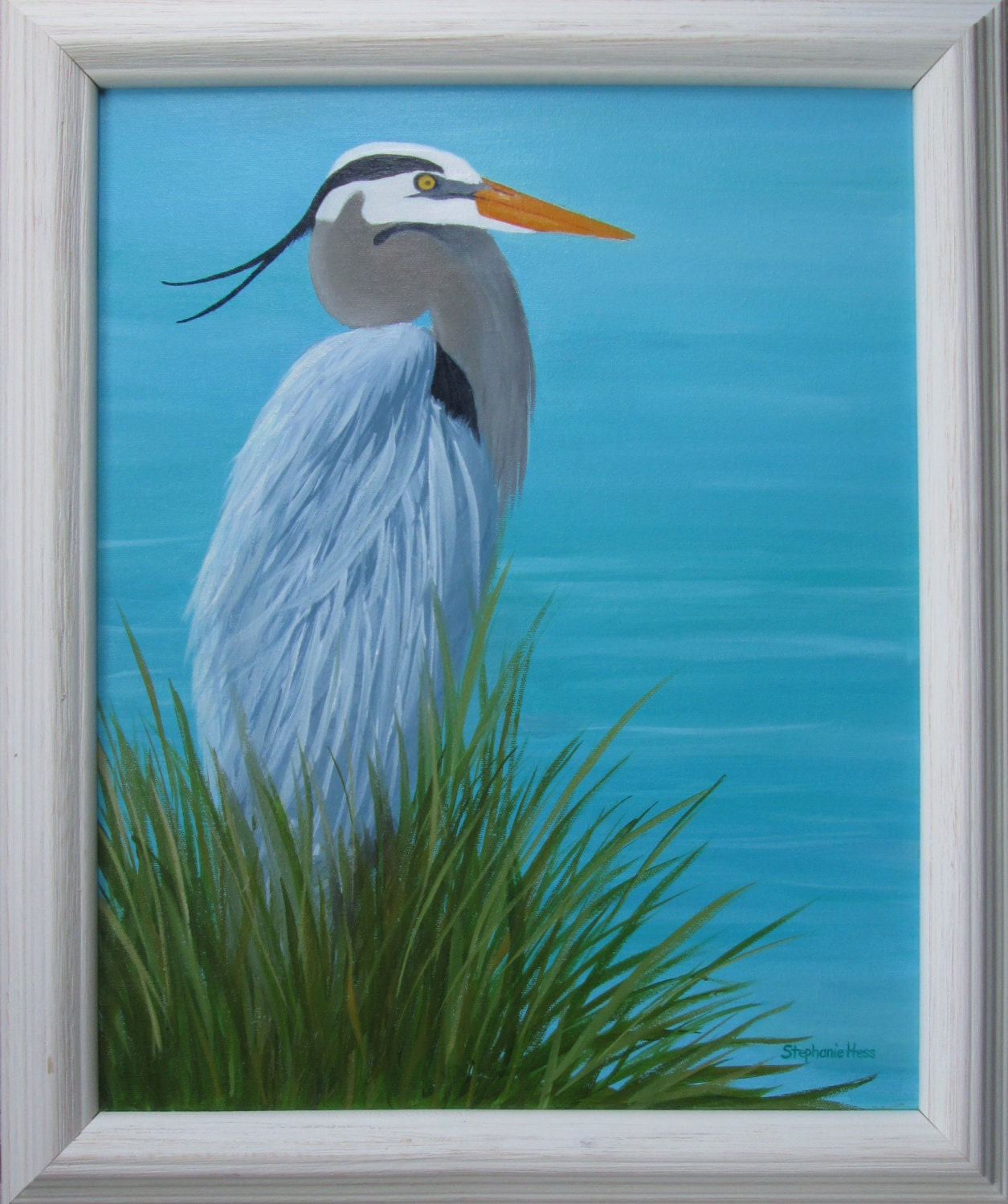 Great blue heron painting on canvas oil 16 x 20 for White heron paint