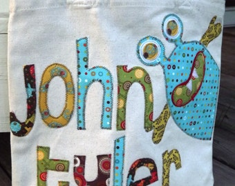 Personalized Monster Tote Bag