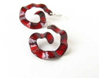 Enamel earrings red black whimsical spirals - artisan jewelry by Alery