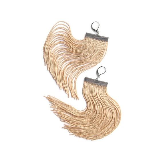 Beige Short Fringe Earrings / Tan Shoulder Duster / Vanilla Chandelier / Wheat Very Long Earrings / Almond Tassel Earrings