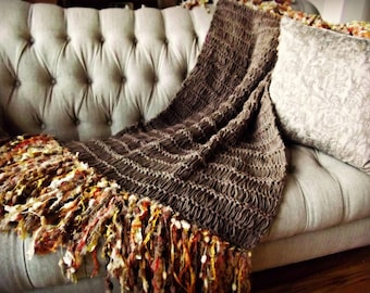 Throw Blanket Afghan Home Decor Housewares in Brown, Orange, Gold Yellow