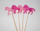24 Mixed Pink Horse Party Picks, Cupcake Toppers, Food Picks, Toothpicks, Drink Picks - No1028