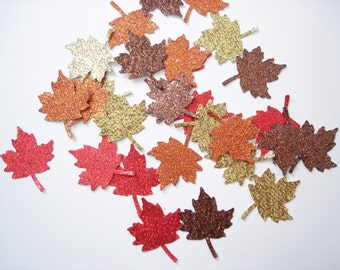 50 Glittered Thanksgiving Maple Leaf paper punch die cut confetti scrapbook embellishments - No595