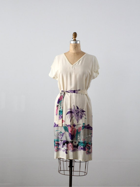 Vintage tunic dress / 80s beach dress
