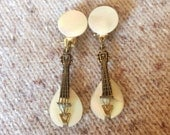Vintage Japan Musical Instrument Earrings - gold - brass - biwa lute mandolin -  clipon clip-on clips - MOP - strings - music musical