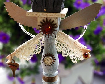 THE ANGEL, Original Art Assemblage from Vintage and Found Objects