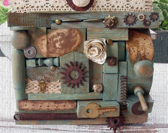 WOOD YOU Original Art Assemblage from Vintage Hardware and Found Objects