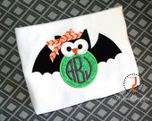 Halloween Shirt - Bat Shirt, Monogram Shirt, Halloween Dress, Halloween Outfit, Custom Shirt, Coordinating Sibling, Bat Dress, Bat Halloween