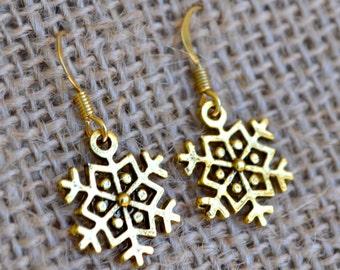 Antiqued Gold Snowflakes . Earrings