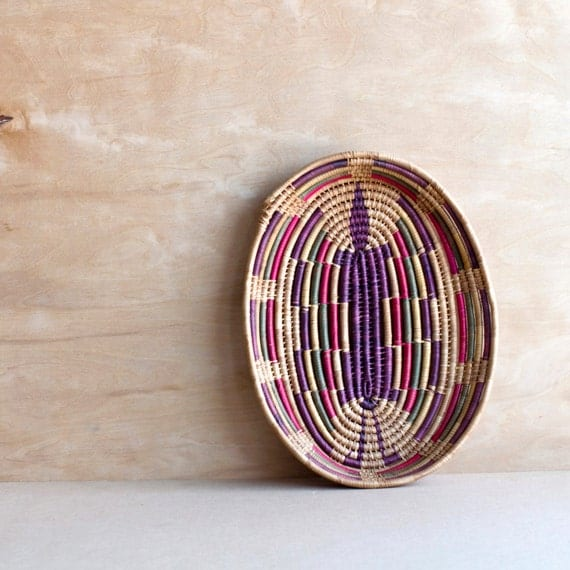 southwestern wrapped straw basket