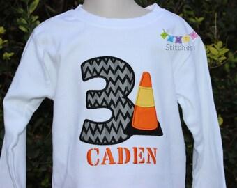Construction Birthday Tee - Traffic Cone Birthday Shirt PERSONALIZED