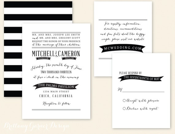 Striped Wedding Invitations: Unavailable Listing On Etsy