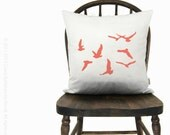 12x18 or 16x16 flock of birds cushion cover | Personalized bird pillow case | Your choice of color, fabric & size | Modern home decor