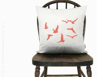 12x18 or 16x16 flock of birds cushion cover | Personalized birds pillow case | Your choice of color, fabric & size | Modern home decor