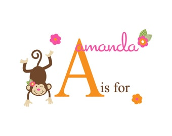 Mod Monkey Decal Personalized Monogram Name Decal Sticker