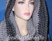 Infinity Scarf, Gray Crochet Infinity Scarf, Crocheted Scarf,  Charcoal  Gray Infinity Scarf, Handmade Scarf,  Mans Scarf, Womens Scarf