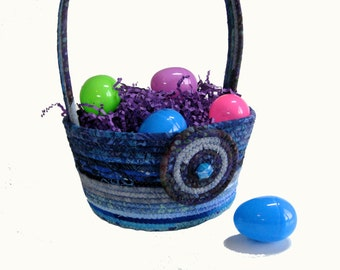 Boy Easter Basket Hand Coiled Rope Clothesline Bright Blue - Fabric Bowl - Easter Decor - Spring Flower Basket - Fiber Art By Sally Manke