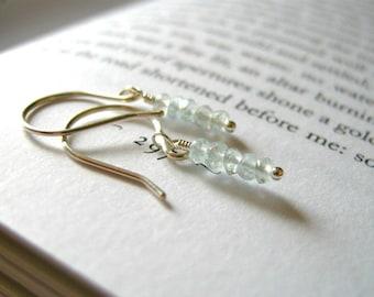 Dainty Aquamarine Dangle Earrings / Rustic Pale Icy Aqua Blue, Wintry March Birthstone Jewelry, Elegant Small Elongated Earrings