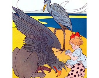 Blue Heron Card - Gryphon and Spotted Pig - Search for Pink Pearl
