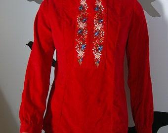 Vintage Holiday Red Velvet Embroidered High Ruffled Neck Shirt -  Max Hurni