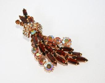 Sale Juliana D&E Vintage Rhinestone Rootbeer Brooch Aurora Borealis