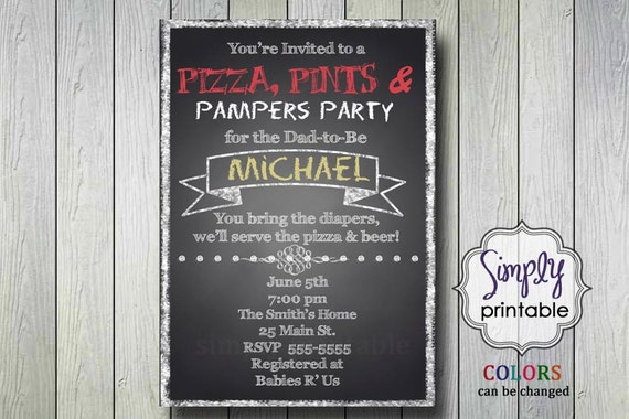 Diaper Party Invitation Pizza & Pampers
