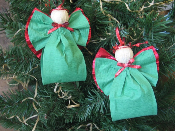 Green Angel Christmas Ornaments Green and Red Paper Ribbon Angel Tree Ornaments Set of Two