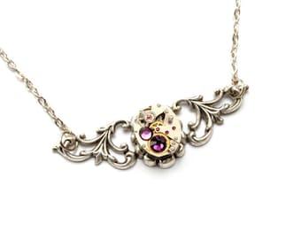 FEBRUARY AMETHYST Steampunk Necklace, Steam Punk, Steampunk Vintage Watch Necklace Silver Wedding, Steampunk Jewelry By VictorianCuriosities