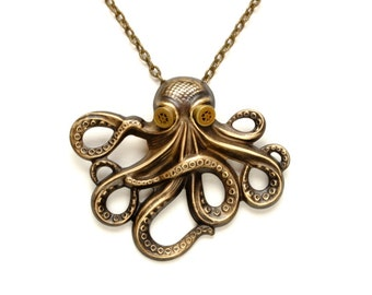 OCTOPUS Steam Punk Necklace Steampunk Jewelry Octopus Kraken Cthulhu Necklace Steampunk Goggles Steam Punk Jewelry By Victorian Curiosities