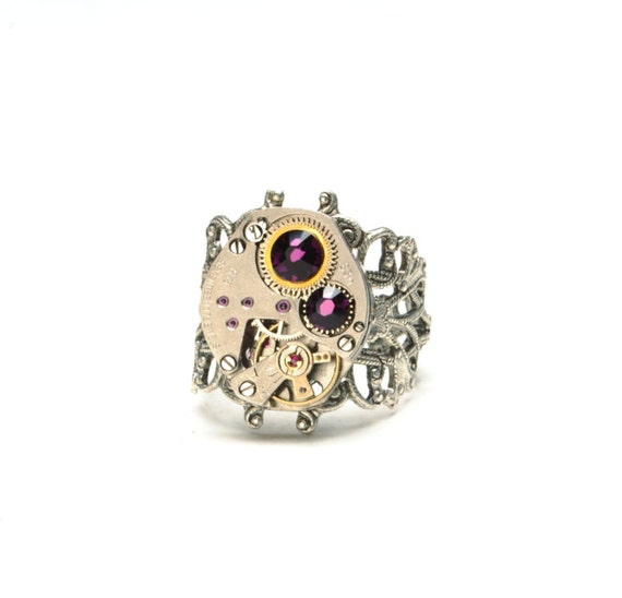FEBRUARY Steampunk Ring AMETHYST Steampunk Jewelry Silver Watch Filigree Ring Size 6 to 11 Victorian Steampunk Jewelry VictorianCuriosities