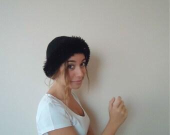 Hand knit BLACK HAT BEANIE