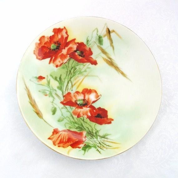 Antique German Plate Orange Roses Bavaria China Cabinet Plate Decorative Wall Art  Red Green