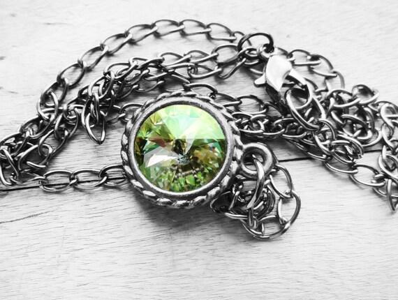 Get 15% OFF - Swarovski Luminous Green Rivoli Crystal Pendant with Gunmetal Necklace - Happy Halloween SALE 2016