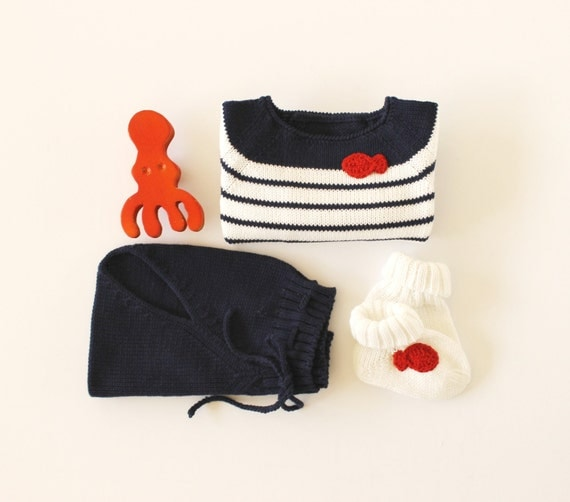 Knit sweater and a diaper cover with a red little fish. 100% cotton. READY TO SHIP in size Newborn.