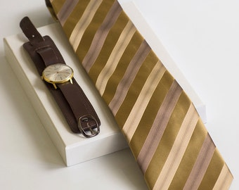 Brown and gold stripes mens necktie. Unique classic necktie. Hipster exlusive jacquard tie by TieStory.