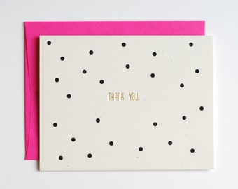 Thank You Card - Thank You Note Card - Polka Dots - Black, Pink, Gold Foil