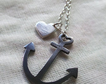 anchor necklace black anchor anchor with heart charm sterling silver jewelry