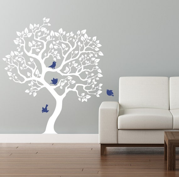 tree wall decal. White tree wall sticker. Size 70