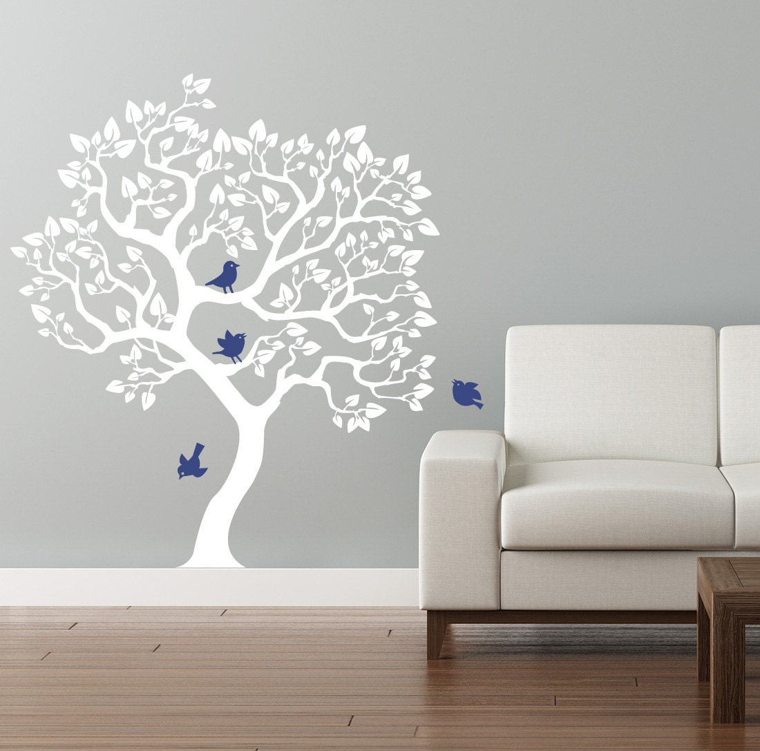 modern tree wall decal white tree wall sticker size. Black Bedroom Furniture Sets. Home Design Ideas