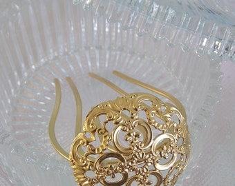 Gold Hair Fork - Filigree Hair Fork - Bridal Hair Accessories - wedding Hair Pin - Gold Hair Pin - Golsd flower hair fork - Hair Jewelry